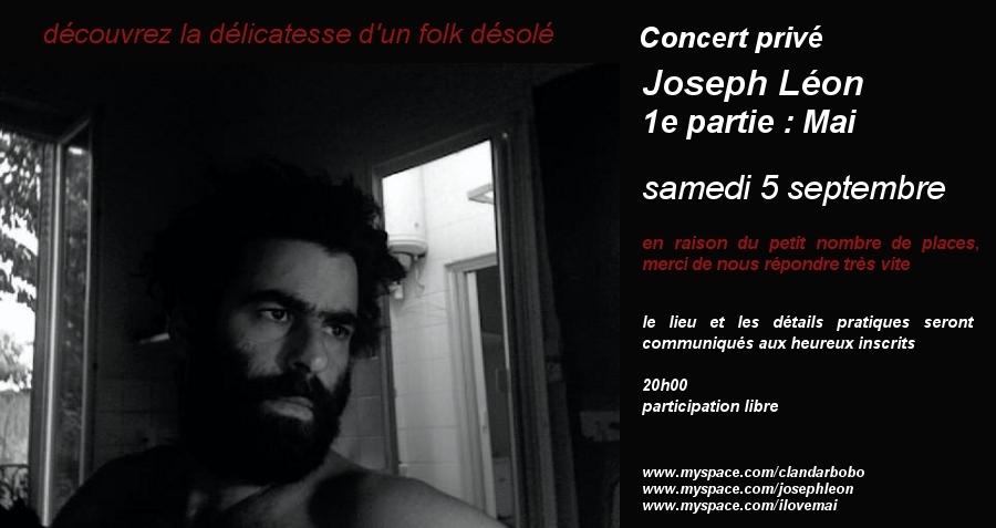 Un concert privé de Joseph Leon, samedi 5, ça te tente?
