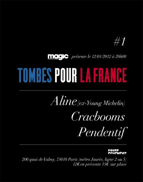 Tombés pour la France, au Point éphémère : Pendentif, cracbooms, Aline