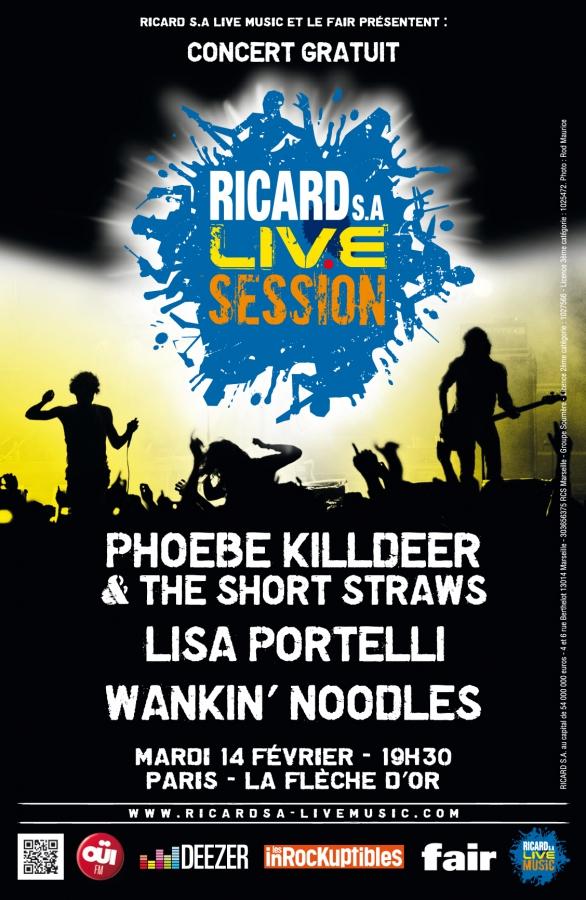 Phoebe Killdeer, Lisa Portelli, Wankin noodles, le 14.02 à la Flèche d'or